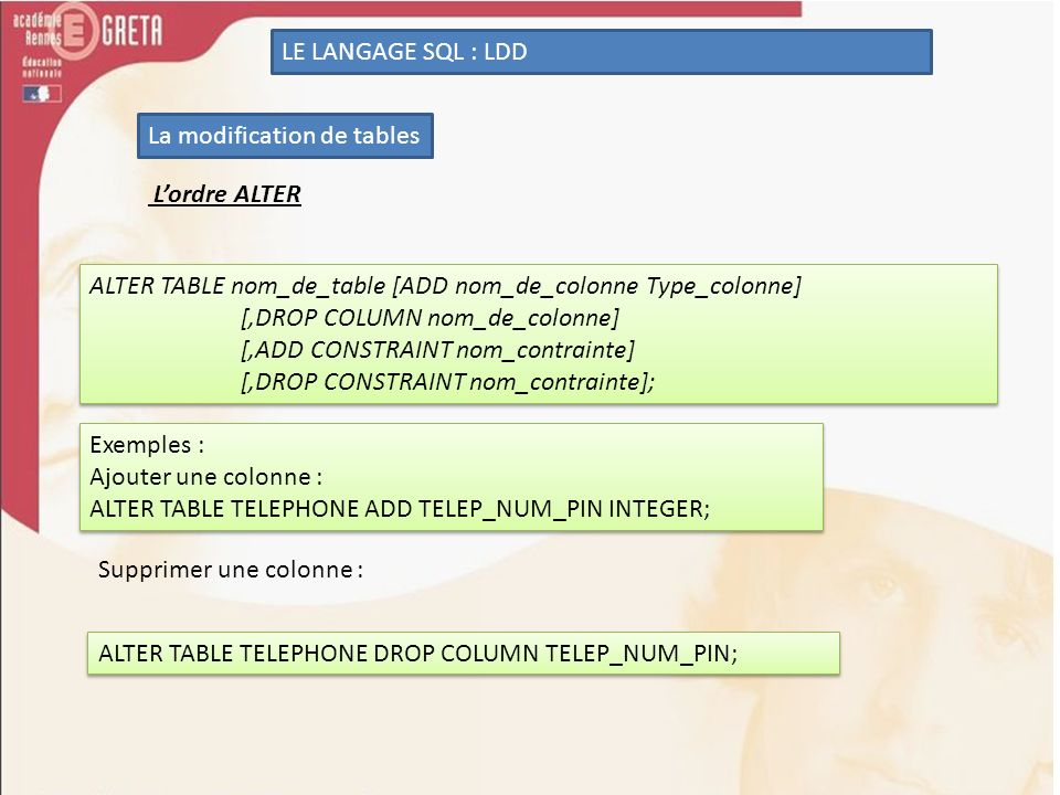LE LANGAGE SQL : LDD La modification de tables. L'ordre ALTER. ALTER TABLE nom_de_table [ADD nom_de_colonne Type_colonne]